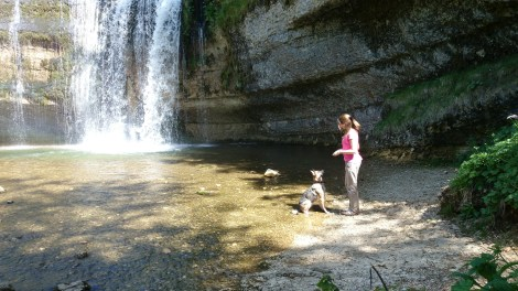 Me and my dog atHerisson waterfall